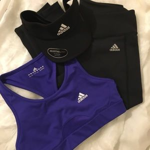 adidas climate bundle bra and capri tights size M